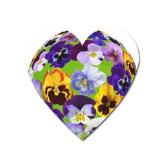 Spring Pansy Blossom Bloom Plant Heart Magnet