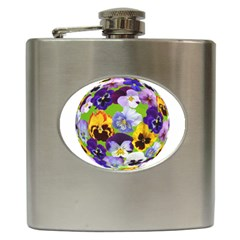 Spring Pansy Blossom Bloom Plant Hip Flask (6 Oz)