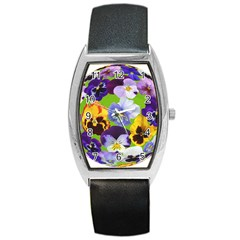 Spring Pansy Blossom Bloom Plant Barrel Style Metal Watch