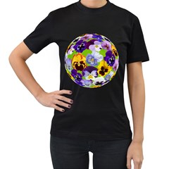 Spring Pansy Blossom Bloom Plant Women s T-Shirt (Black) (Two Sided)