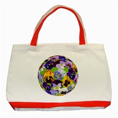 Spring Pansy Blossom Bloom Plant Classic Tote Bag (red)
