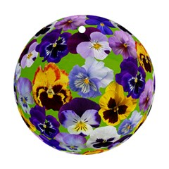 Spring Pansy Blossom Bloom Plant Round Ornament (two Sides)