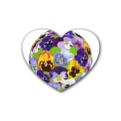 Spring Pansy Blossom Bloom Plant Heart Coaster (4 pack)