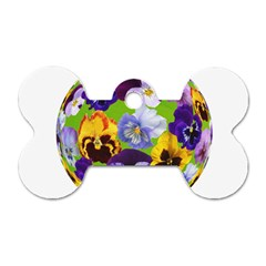 Spring Pansy Blossom Bloom Plant Dog Tag Bone (One Side)