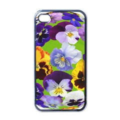 Spring Pansy Blossom Bloom Plant Apple Iphone 4 Case (black)
