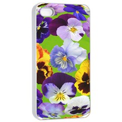 Spring Pansy Blossom Bloom Plant Apple iPhone 4/4s Seamless Case (White)