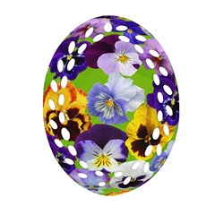 Spring Pansy Blossom Bloom Plant Oval Filigree Ornament (Two Sides)