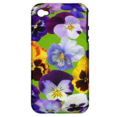 Spring Pansy Blossom Bloom Plant Apple Iphone 4/4s Hardshell Case (pc+silicone)