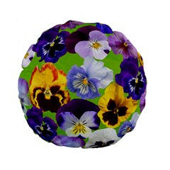 Spring Pansy Blossom Bloom Plant Standard 15  Premium Round Cushions