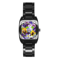Spring Pansy Blossom Bloom Plant Stainless Steel Barrel Watch