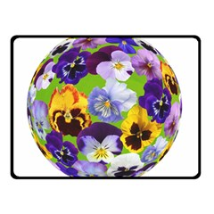 Spring Pansy Blossom Bloom Plant Double Sided Fleece Blanket (Small)