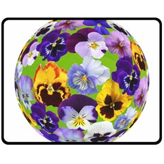 Spring Pansy Blossom Bloom Plant Double Sided Fleece Blanket (Medium)