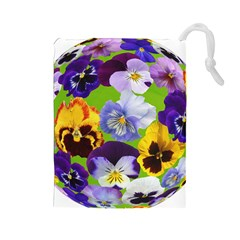 Spring Pansy Blossom Bloom Plant Drawstring Pouches (large)