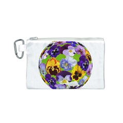 Spring Pansy Blossom Bloom Plant Canvas Cosmetic Bag (s)