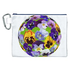 Spring Pansy Blossom Bloom Plant Canvas Cosmetic Bag (xxl)