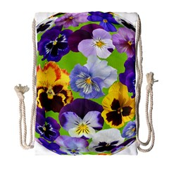 Spring Pansy Blossom Bloom Plant Drawstring Bag (Large)