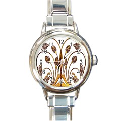 Scroll Gold Floral Design Round Italian Charm Watch
