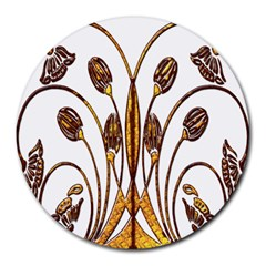 Scroll Gold Floral Design Round Mousepads