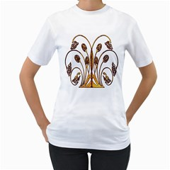 Scroll Gold Floral Design Women s T-Shirt (White) (Two Sided)
