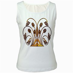 Scroll Gold Floral Design Women s White Tank Top