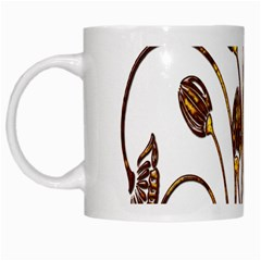 Scroll Gold Floral Design White Mugs