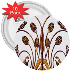 Scroll Gold Floral Design 3  Buttons (10 pack)