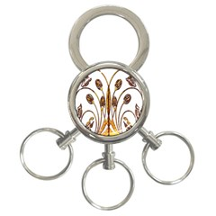 Scroll Gold Floral Design 3 Ring Key Chains