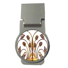 Scroll Gold Floral Design Money Clips (Round)