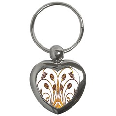 Scroll Gold Floral Design Key Chains (Heart)