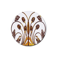 Scroll Gold Floral Design Rubber Coaster (round)