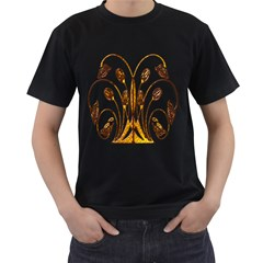Scroll Gold Floral Design Men s T-Shirt (Black) (Two Sided)