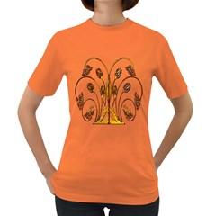 Scroll Gold Floral Design Women s Dark T Shirt
