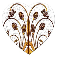 Scroll Gold Floral Design Jigsaw Puzzle (Heart)