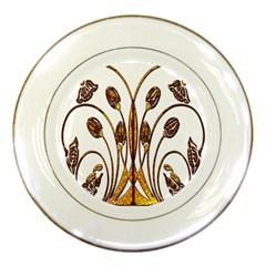 Scroll Gold Floral Design Porcelain Plates