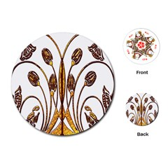 Scroll Gold Floral Design Playing Cards (Round)