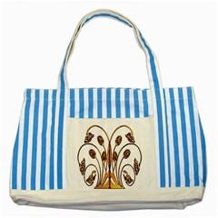 Scroll Gold Floral Design Striped Blue Tote Bag