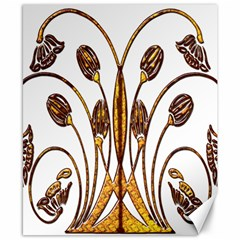 Scroll Gold Floral Design Canvas 8  x 10
