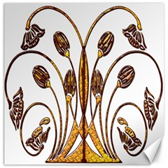 Scroll Gold Floral Design Canvas 20  x 20