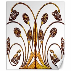 Scroll Gold Floral Design Canvas 20  x 24