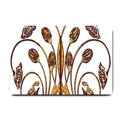 Scroll Gold Floral Design Small Doormat