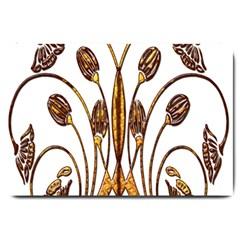 Scroll Gold Floral Design Large Doormat