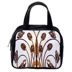 Scroll Gold Floral Design Classic Handbags (one Side)