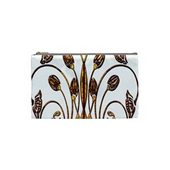 Scroll Gold Floral Design Cosmetic Bag (small)