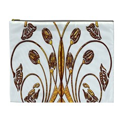 Scroll Gold Floral Design Cosmetic Bag (XL)