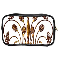Scroll Gold Floral Design Toiletries Bags 2 Side