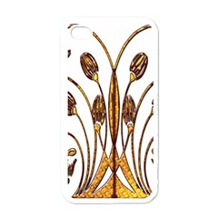 Scroll Gold Floral Design Apple iPhone 4 Case (White)