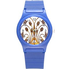 Scroll Gold Floral Design Round Plastic Sport Watch (s)