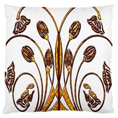 Scroll Gold Floral Design Large Cushion Case (one Side)