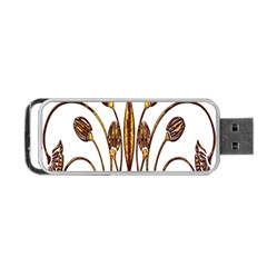 Scroll Gold Floral Design Portable USB Flash (Two Sides)