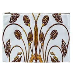 Scroll Gold Floral Design Cosmetic Bag (XXL)